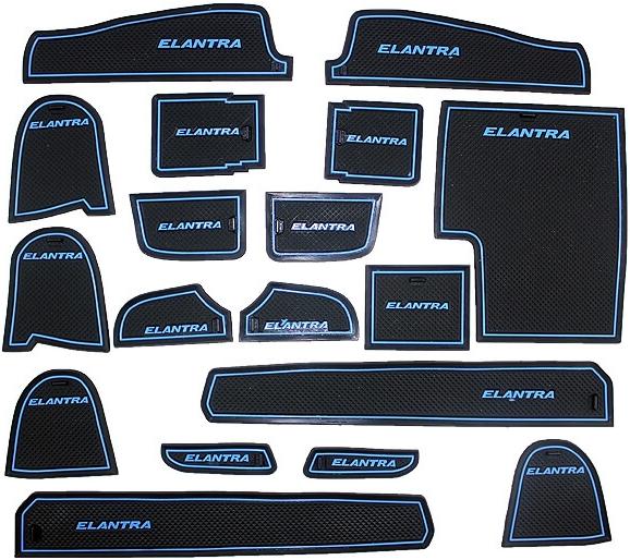 Коврики в подстаканники и в дверные ниши Hyundai Elantra (18 ковриков)