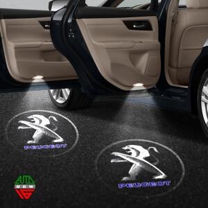 Лазерная проекция с логотипом Peugeot