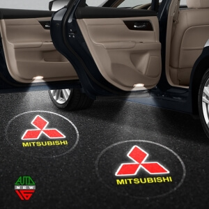 Лазерная проекция с логотипом Mitsubishi