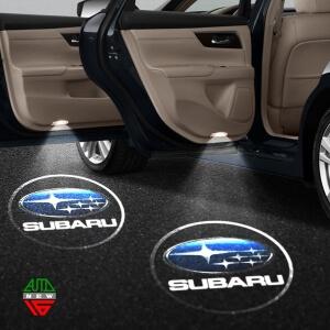 Лазерная проекция с логотипом Subaru
