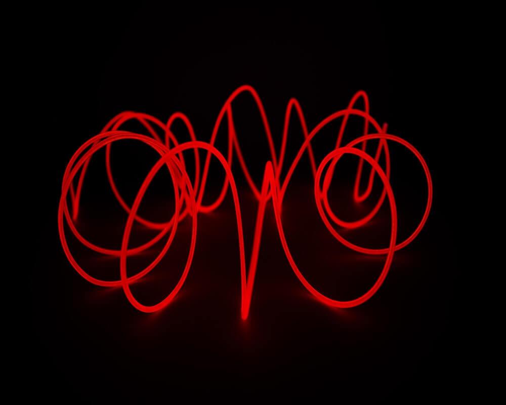 Красная неоновая нить, 3 метра, фото 4