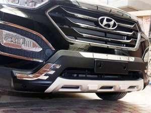 Защитная накладка бампера Hyundai Santa Fe (2012-2015)