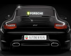 Неоновая наклейка Porsche