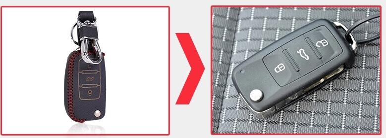 Кожаный чехол на ключи Volkswagen 2013 Polo (KCC-28), фото 7