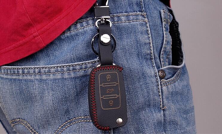 Кожаный чехол на ключи Volkswagen Golf (KCC-28), фото 8