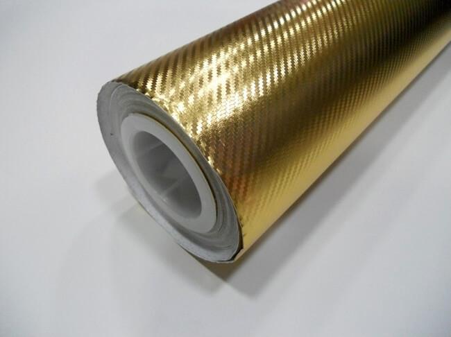 Золотая хромированная карбоновая пленка (1х1,52см), фото 2
