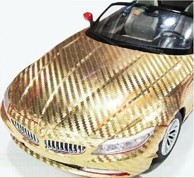 Золотая хромированная карбоновая пленка (1х1,52см), фото 3
