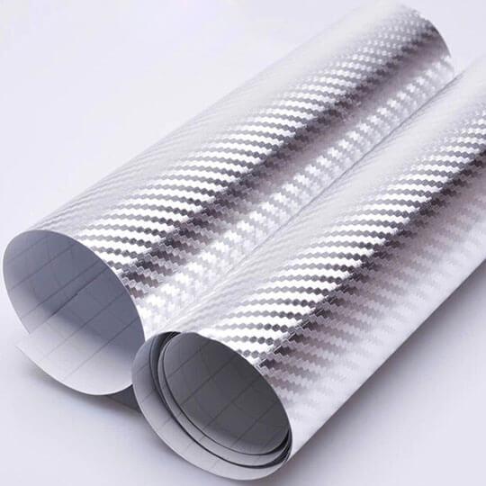Серебряная  хромированная карбоновая пленка (1х1,52см), фото 2