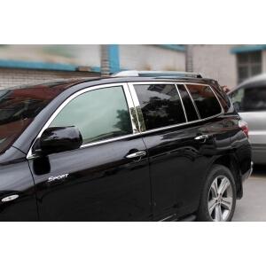 Хромированные молдинги окон дверей на Toyota Highlander (2010-2014) (16 предметов)