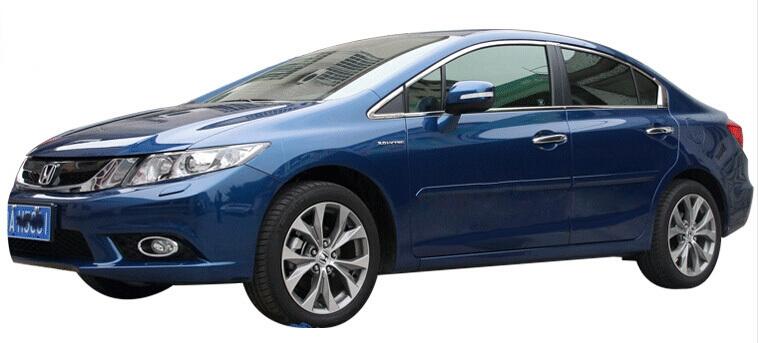 Хромированные молдинги окон дверей на Honda Civic (2012-2015) (16 предметов)