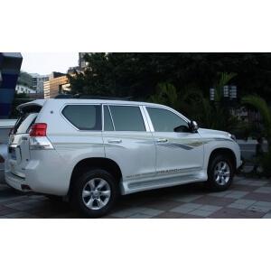 Хромированные молдинги на окна дверей Toyota Land Cruiser Prado (2009-2013) (24 предмета)