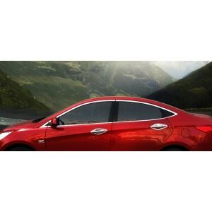 Хромированные молдинги на окна дверей Hyundai Solaris (2010-2015) (16 предметов)