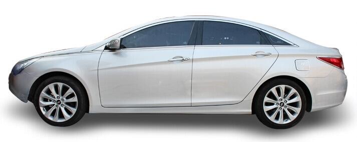 Хромированные молдинги на окна дверей Hyundai Sonata (2010-2014) (10 предметов), фото 3
