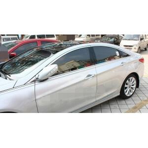 Хромированные молдинги на окна дверей Hyundai Sonata (2010-2014) (10 предметов)