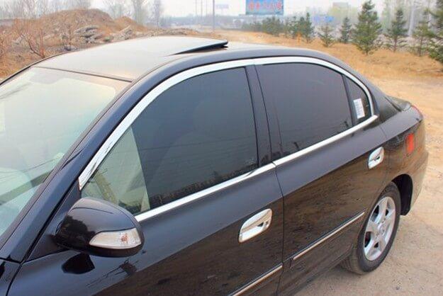 Хромированные молдинги на окна дверей Hyundai Elantra (2003-2006) (8 предметов)