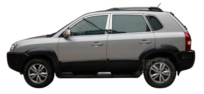 Хромированные молдинги на окна дверей Hyundai Tucson (2004-2010) (18 предметов)