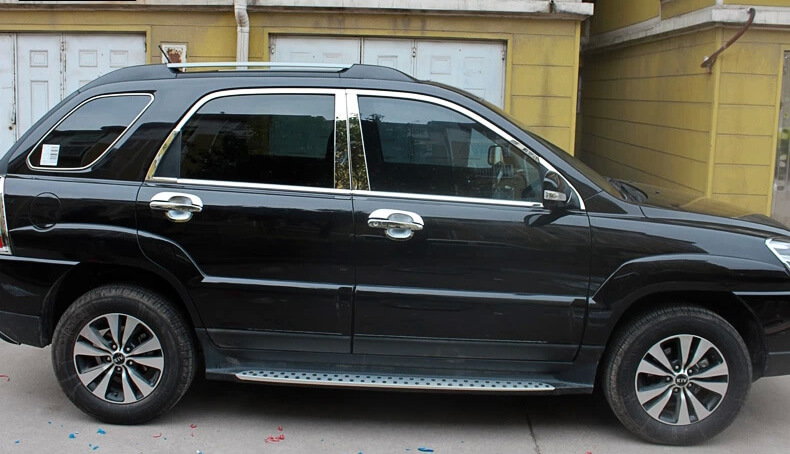 Хромированные молдинги на окна дверей Kia Sportage (2004-2010) (18 предметов)