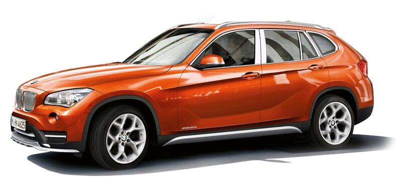 Хромированные молдинги на окна дверей BMW X1 (22 предмета)