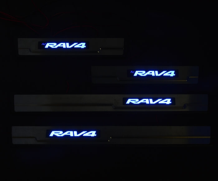 Накладки на пороги с подсветкой (под оригинал) Toyota Rav4 CA40, фото 3