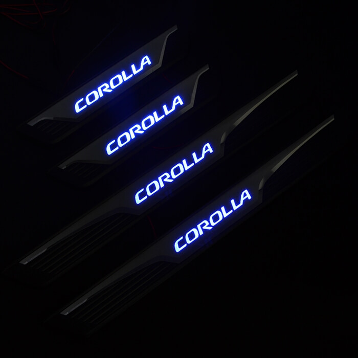Накладки на пороги с подсветкой (под оригинал) Toyota Corolla (2013-2015), фото 3