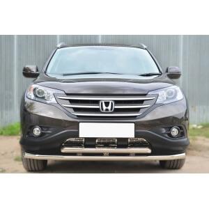Защита переднего бампера Honda CR-V 2,4 2013- d63 (секции) d63 (дуга) декор-паз HVZ-001765