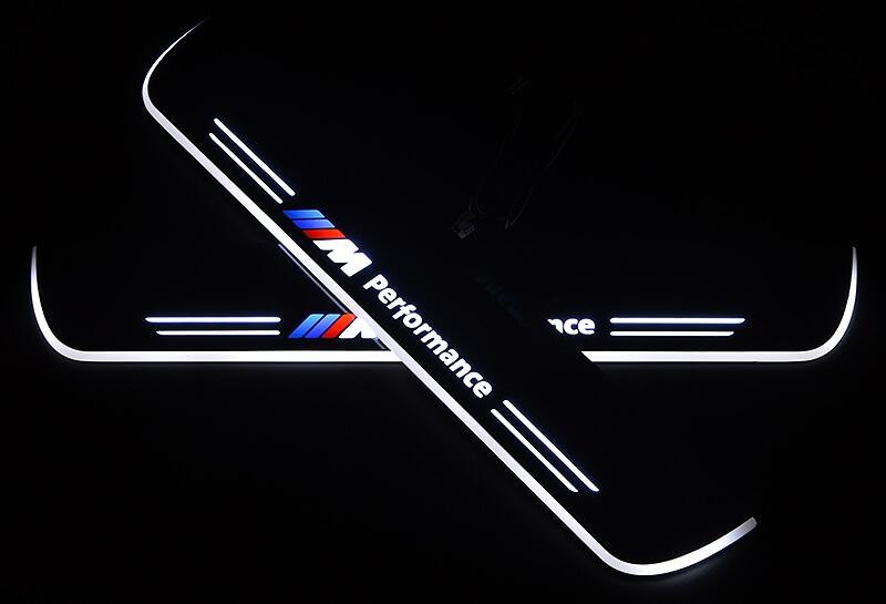 Накладки на пороги Premium для BMW X3 F25 (белая подсветка), фото 2