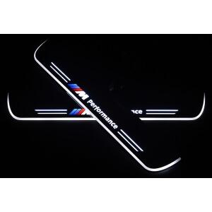 Накладки на пороги Premium для BMW X3 F25 (белая подсветка)