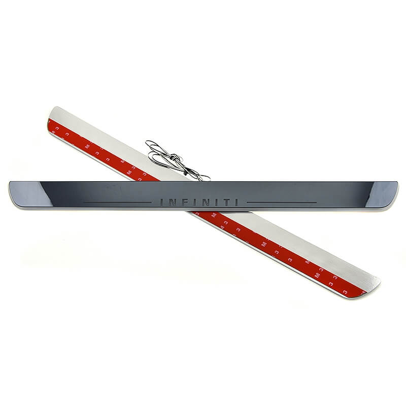 Накладки на пороги Premium для INFINITI QX70 (красная подсветка), фото 3
