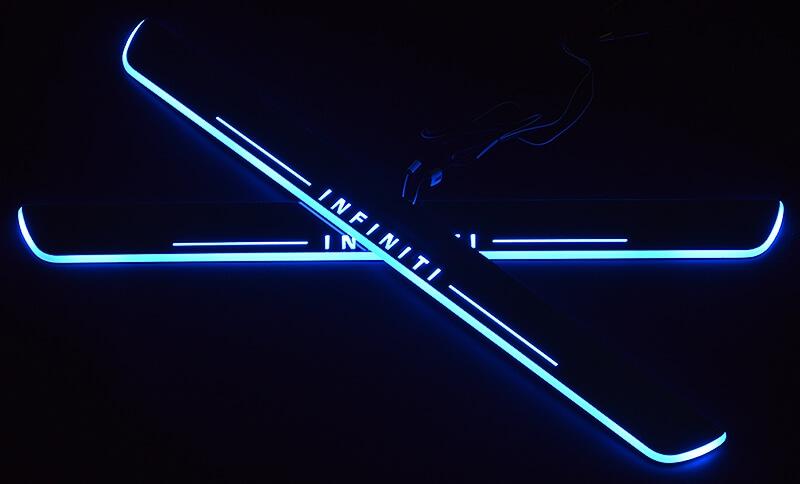 Накладки на пороги Premium для INFINITI QX70 (синяя подсветка), фото 2