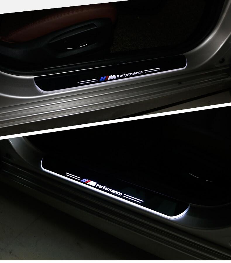 Накладки на пороги Premium для INFINITI QX70 (синяя подсветка), фото 5