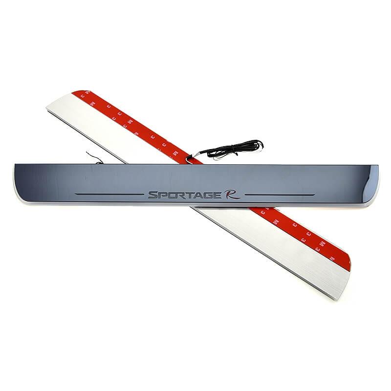 Накладки на пороги Premium для Kia Sportage (белая подсветка), фото 3