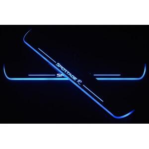 Накладки на пороги Premium для Kia Sportage (синяя подсветка)