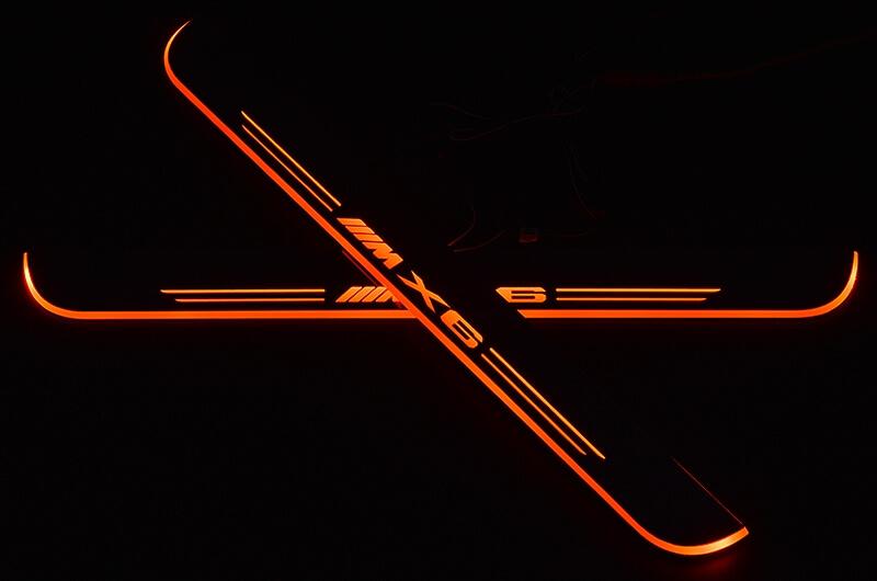 Накладки на пороги Premium для BMW X6 (красная подсветка), фото 2