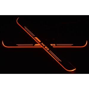 Накладки на пороги Premium для BMW X6 (красная подсветка)