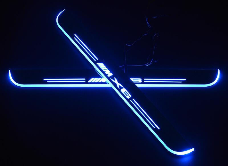 Накладки на пороги Premium для BMW X6 (синяя подсветка), фото 2