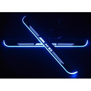 Накладки на пороги Premium для BMW X6 (синяя подсветка)