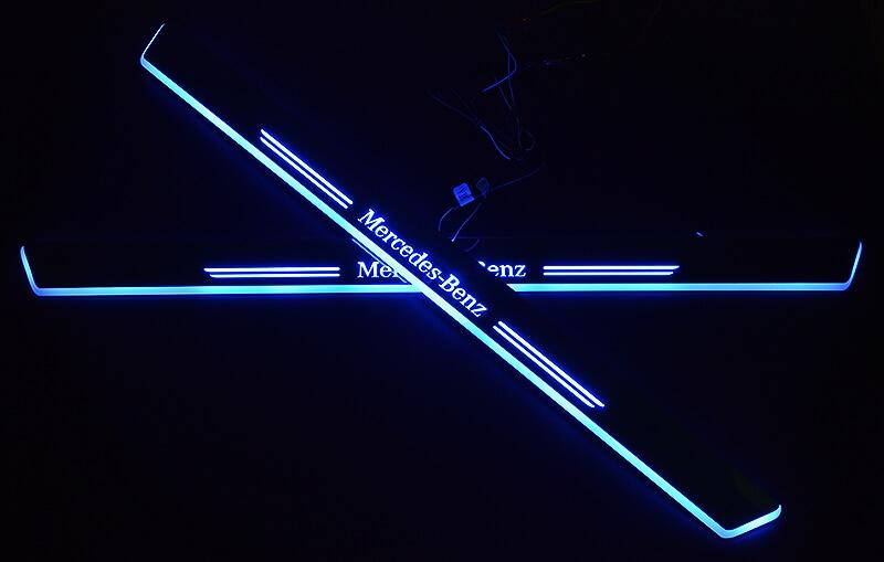Накладки на пороги Premium для Mercedes-Benz GLK (синяя подсветка), фото 2