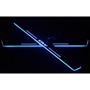 Накладки на пороги Premium для Honda CRV (синяя подсветка)