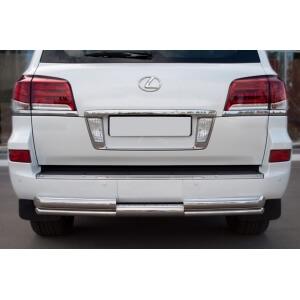 Защита заднего бампера Lexus LX 570 2012 d76/d42 (ступень) LLXZ-000869