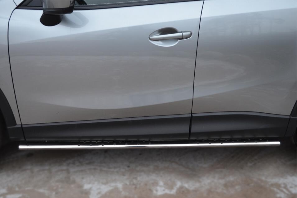 Защита порогов Mazda CX-5 2011- 75х42 с проступью M5O-001137