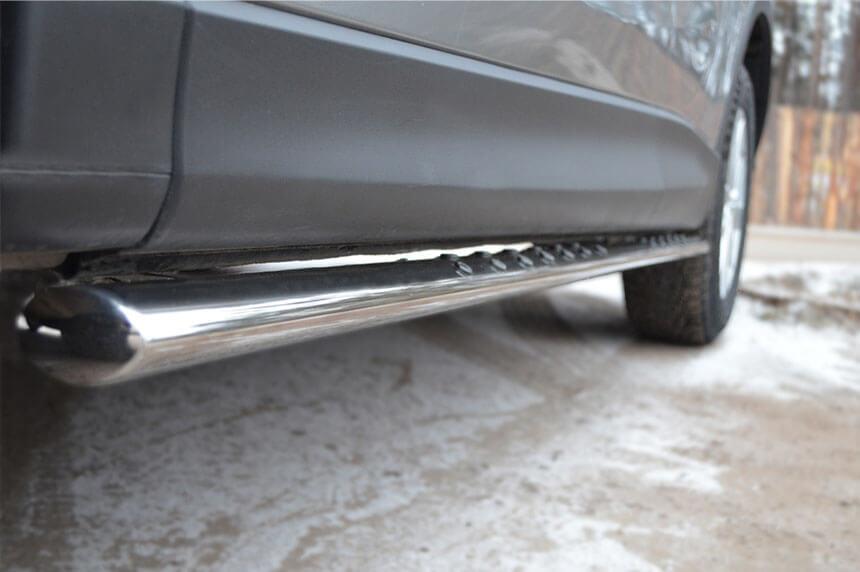 Защита порогов Mazda CX-5 2011- 75х42 с проступью M5O-001137, фото 4