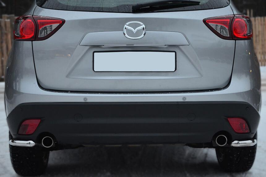 Защита заднего бампера уголки Mazda CX-5 2011- d42 M5Z-001141, фото 3