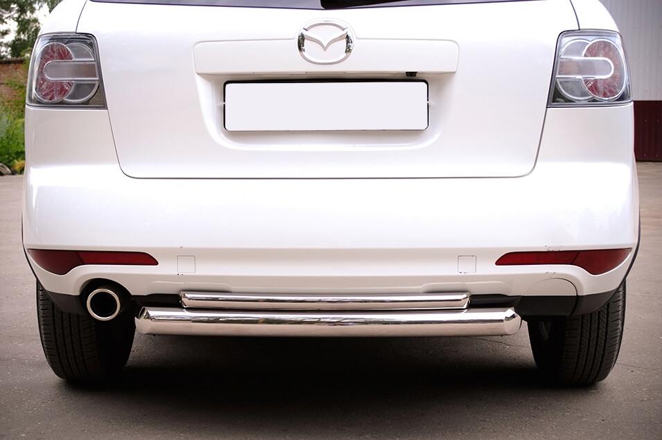 Защита заднего бампера Mazda CX-7 2010 d76/42 (дуга) MC7Z-000650, фото 2