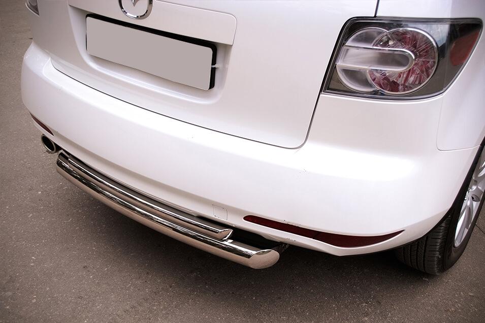 Защита заднего бампера Mazda CX-7 2010 d76/42 (дуга) MC7Z-000650, фото 3