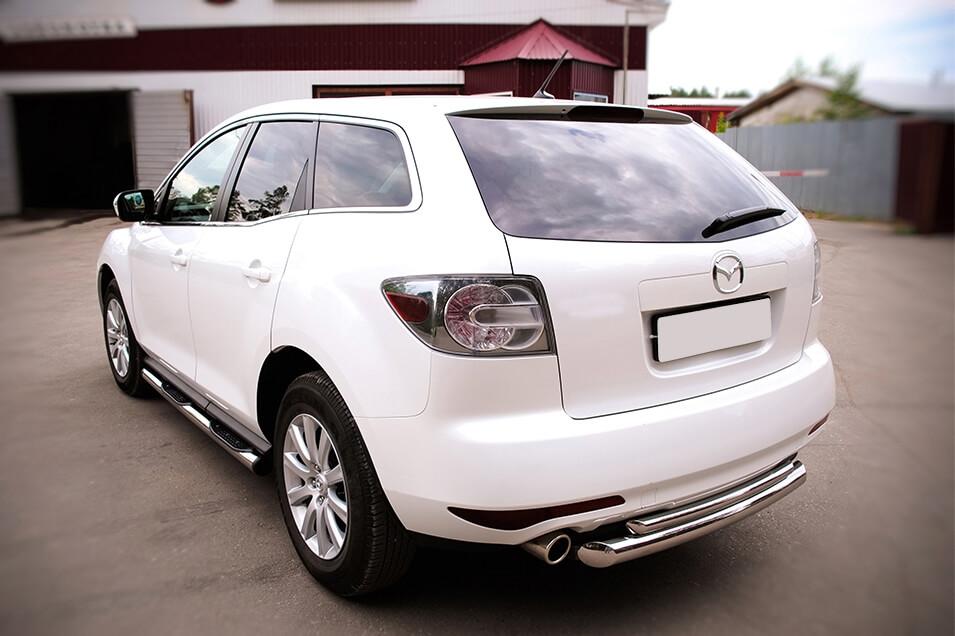 Защита заднего бампера Mazda CX-7 2010 d76/42 (дуга) MC7Z-000650, фото 5