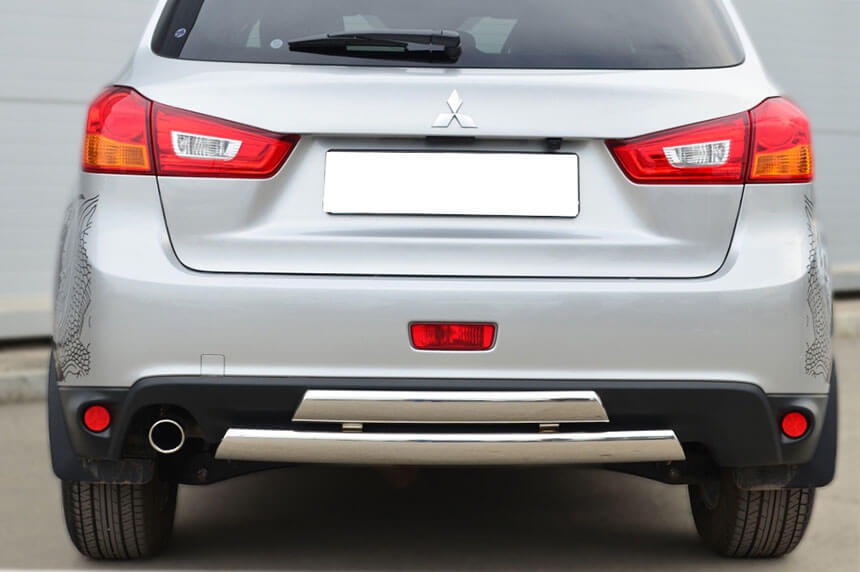 Защита заднего бампера Mitsubishi ASX 2013 75х42/75х42 овалы (дуга) MASZ-001328, фото 3