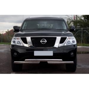 Защита переднего бампера Nissan Patrol 2010 d75х42/75х42 ступень PAZ-000893