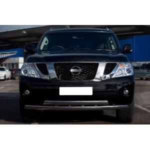 Защита переднего бампера Nissan Patrol 2010 d75/42х75/42 овалы PAZ-000894