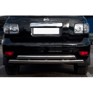 защита заднего бампера Nissan Patrol 2010 d75/42х75/42 овалы PAZ-000896