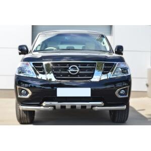Защита переднего бампера Nissan Patrol 2014- d76 (дуга) d76х2 (дуга)+клыки PATZ-001728